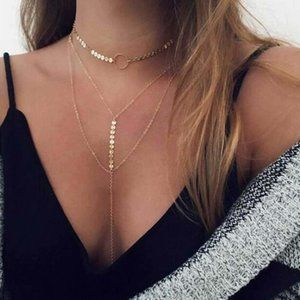 Layered Lariat Choker Necklace (Gold)